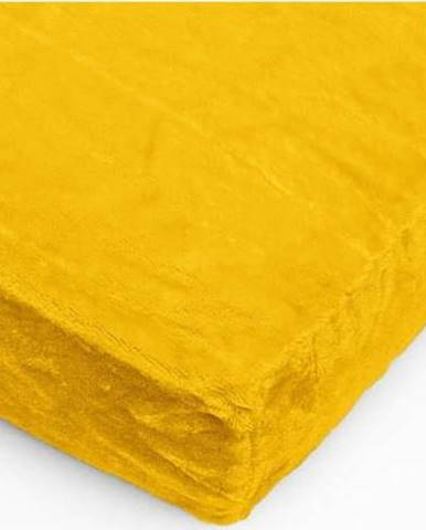 Žluté mikroplyšové prostěradlo My House, 180 x 200 cm