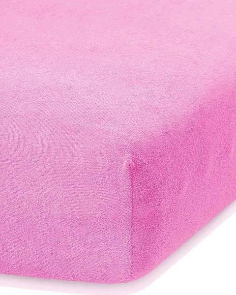 AmeliaHome Růžové elastické prostěradlo s vysokým podílem bavlny AmeliaHome Ruby, 80/90 x 200 cm