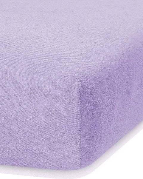 AmeliaHome Světle fialové elastické prostěradlo s vysokým podílem bavlny AmeliaHome Ruby, 140/160 x 200 cm