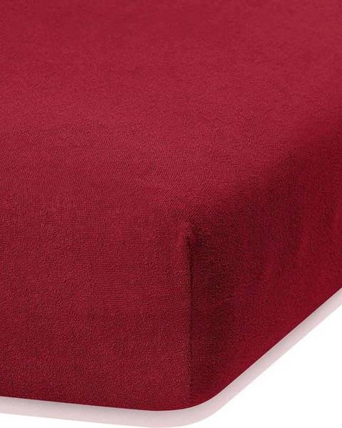 AmeliaHome Tmavě červené elastické prostěradlo s vysokým podílem bavlny AmeliaHome Ruby, 100/120 x 200 cm