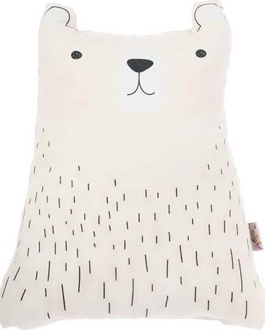 Bílý dětský polštářek s příměsí bavlny Mike&Co.NEWYORK Pillow Toy Bear Cute, 22 x 30 cm