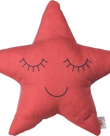 Červený dětský polštářek s příměsí bavlny Mike&Co.NEWYORK Pillow Toy Star, 35 x 35 cm