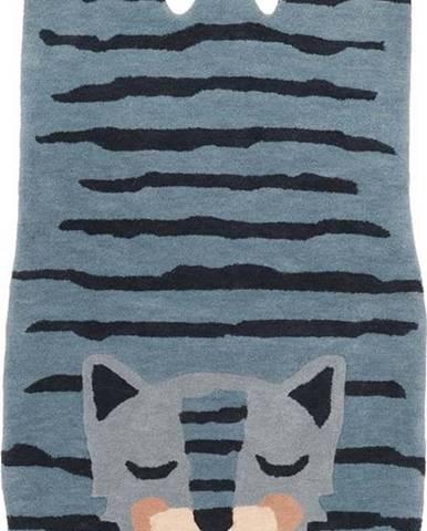 Dětský lněný koberec Nattiot Blue Tigger,65x125cm