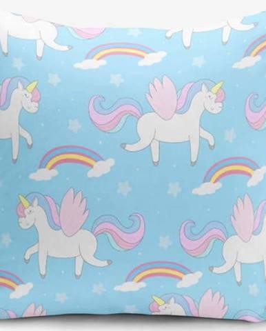 Povlak na polštář s příměsí bavlny Minimalist Cushion Covers Blue Background Unicorn Rainbows, 45 x 45 cm