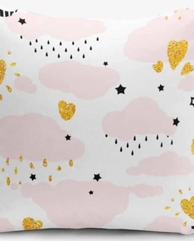 Povlak na polštář s příměsí bavlny Minimalist Cushion Covers Pink Clouds Modern, 45 x 45 cm