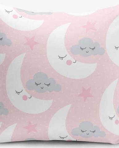Povlak na polštář s příměsí bavlny Minimalist Cushion Covers With Points Moon And Cloud, 45 x 45 cm