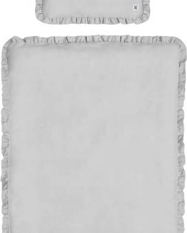 Šedé dětské lněné povlečení s výplní BELLAMY Stone Gray, 140x200cm