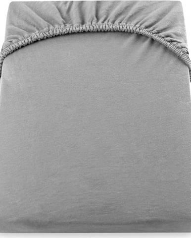 Šedé elastické prostěradlo DecoKing Nephrite, 80/90 x 200cm
