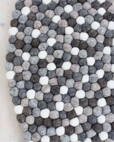 Šedo-bílý kuličkový vlněný koberec Wooldot Ball Rugs, ⌀ 140 cm