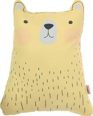 Žlutý dětský polštářek s příměsí bavlny Mike&Co.NEWYORK Pillow Toy Bear Cute, 22 x 30 cm