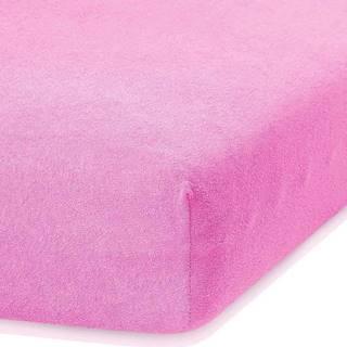 Růžové elastické prostěradlo s vysokým podílem bavlny AmeliaHome Ruby, 80/90 x 200 cm