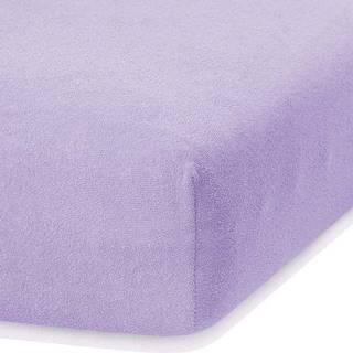 Světle fialové elastické prostěradlo s vysokým podílem bavlny AmeliaHome Ruby, 140/160 x 200 cm