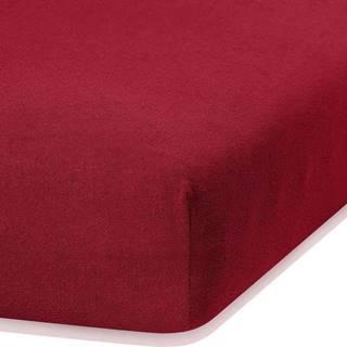 Tmavě červené elastické prostěradlo s vysokým podílem bavlny AmeliaHome Ruby, 100/120 x 200 cm