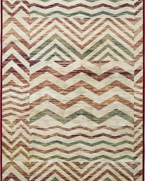 Universal Béžovo-vínový koberec z viskózy Universal Belga Zig Zag, 100x140cm