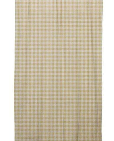 Béžový závěs Linen Cuture Cortina Hogar Beige Vichy