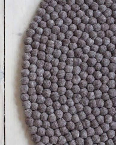 Ořechově hnědý kuličkový vlněný koberec Wooldot Ball Rugs, ⌀ 90 cm