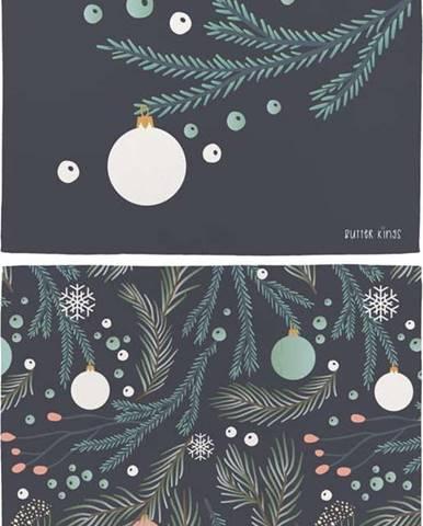 Sada 2 bavlněných prostírání s vánočním motivem Butter Kings Christmas Deco,45x35cm