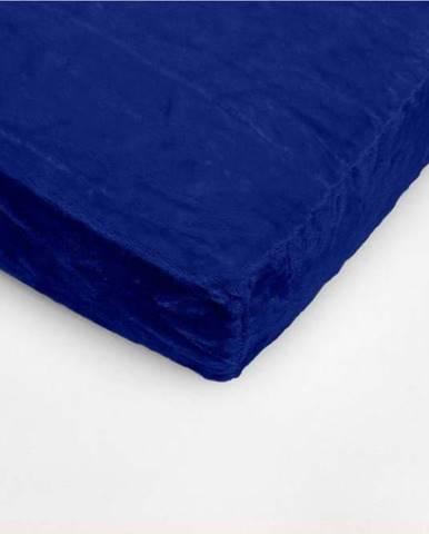 Tmavě modré mikroplyšové prostěradlo My House, 90 x 200 cm