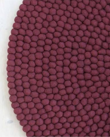 Tmavě višňový kuličkový vlněný koberec Wooldot Ball Rugs, ⌀ 90 cm