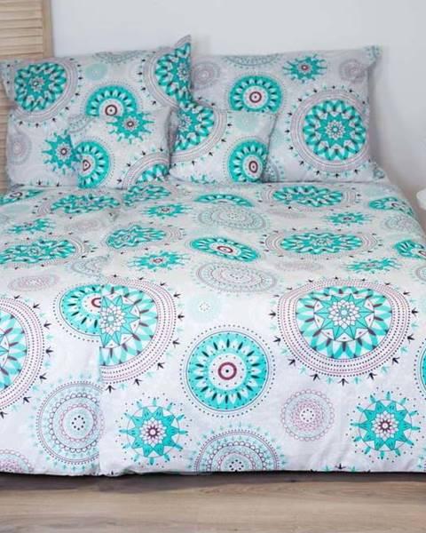 Cotton House Bavlněné povlečení s tyrkysovým dekorem Cotton House Mandala, 140 x 200 cm