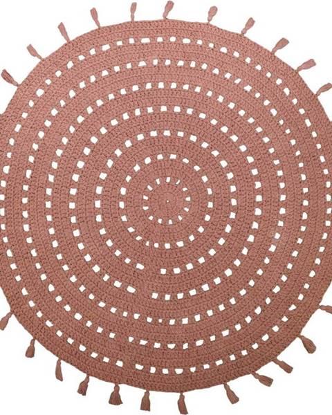 Nattiot Hnědý bavlněný ručně vyrobený koberec Nattiot Nila,ø120cm