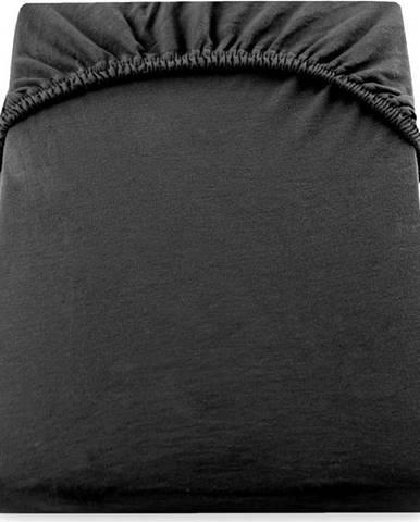 Černé elastické bavlněné prostěradlo DecoKing Amber Collection, 80/90 x 200 cm