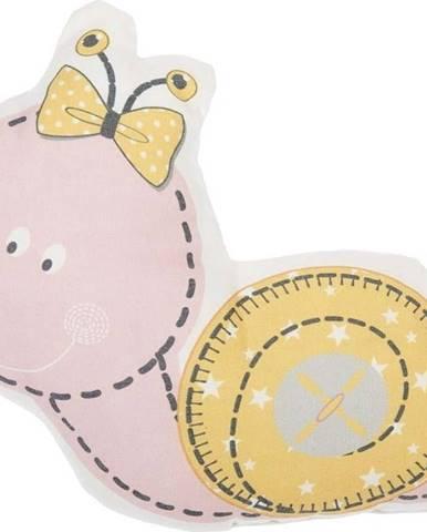 Růžový dětský polštářek s příměsí bavlny Mike&Co.NEWYORK Pillow Toy Snail, 30 x 28 cm
