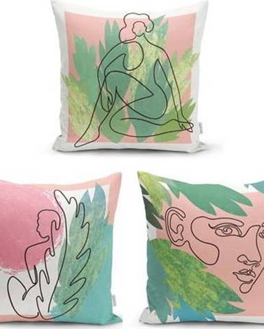 Sada 3 dekorativních povlaků na polštáře Minimalist Cushion Covers Colourful Minimalist,45x45cm
