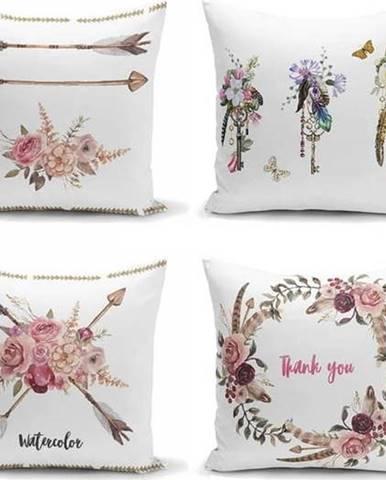 Sada 4 dekorativních povlaků na polštáře Minimalist Cushion Covers Flower Key,45x45cm