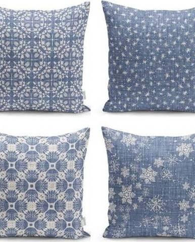 Sada 4 dekorativních povlaků na polštáře Minimalist Cushion Covers Minimalist Drawing Blue,45x45cm