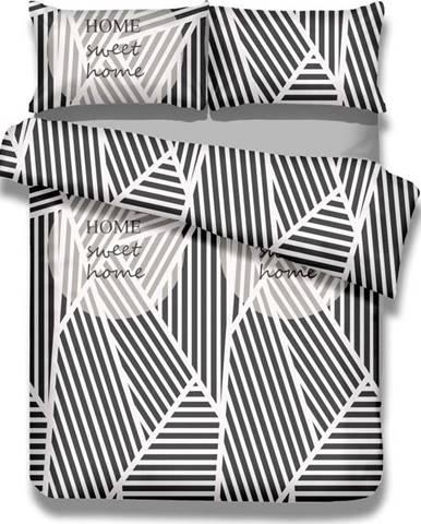 Sada bavlněného povlaku na peřinu a povlaku na polštář AmeliaHome Averi Sweet Home Light, 135 x 200 cm + 80 x 80 cm