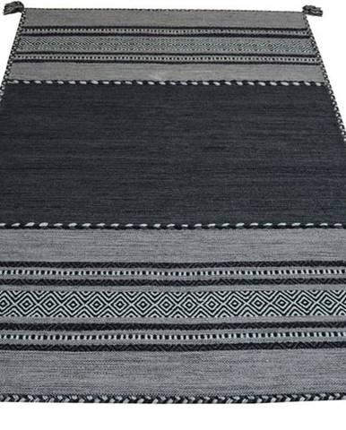 Tmavě šedý bavlněný koberec Webtappeti Antique Kilim, 60 x 200 cm