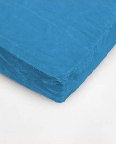 Tyrkysově modré mikroplyšové prostěradlo My House, 90 x 200 cm