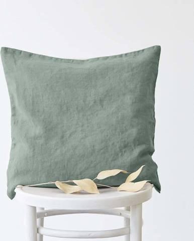 Zelený lněný povlak na polštář Linen Tales, 50x50cm