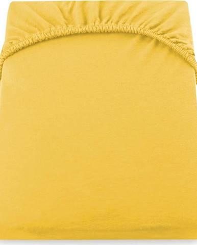 Žluté prostěradlo DecoKing Amber Collection, 200/220 x 200 cm
