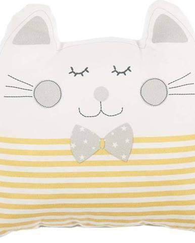 Žlutý dětský polštářek s příměsí bavlny Mike&Co.NEWYORK Pillow Toy Big Cat, 29 x 29 cm