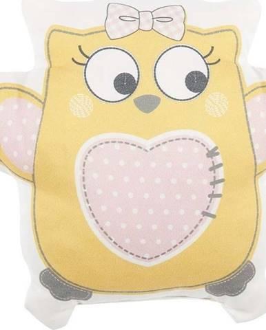 Žlutý dětský polštářek s příměsí bavlny Mike&Co.NEWYORK Pillow Toy Owl, 32 x 26 cm