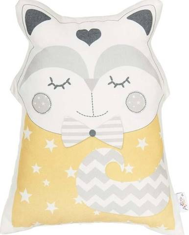 Žlutý dětský polštářek s příměsí bavlny Mike&Co.NEWYORK Pillow Toy Smart Cat, 23 x 33 cm
