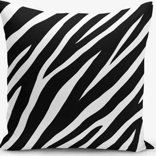 Černo-bílý povlak na polštář s příměsí bavlny Minimalist Cushion Covers Zebra, 45x45cm