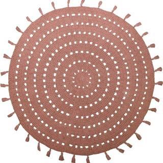 Hnědý bavlněný ručně vyrobený koberec Nattiot Nila,ø120cm