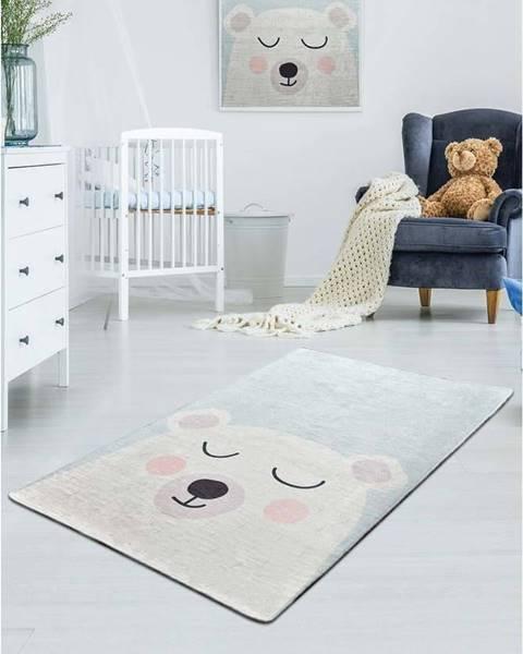 Chilai Bílo-modrý dětský protiskluzový koberec Chilai Baby Bear,100x160cm