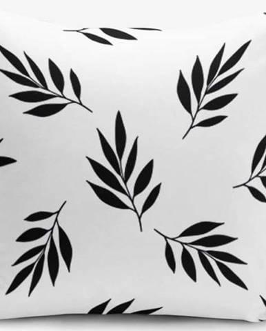 Černo-bílý povlak na polštář s příměsí bavlny Minimalist Cushion Covers Black White Leaf, 45 x 45 cm