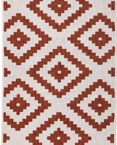 Hnědo-krémový venkovní koberec Bougari Malta, 80x250 cm
