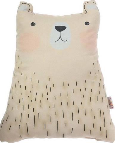 Hnědý dětský polštářek s příměsí bavlny Mike&Co.NEWYORK Pillow Toy Bear Cute, 22 x 30 cm