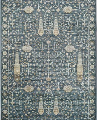 Modrý koberec z viskózy Universal Vintage Flowers, 120x170cm
