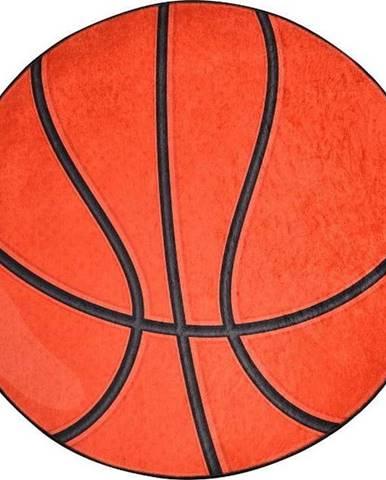 Oranžový dětský protiskluzový koberec Chilai Basketball,ø140cm