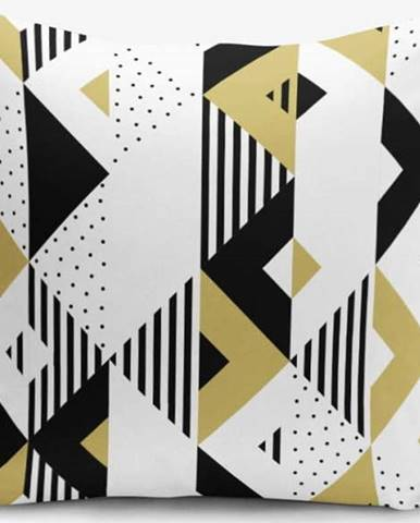 Povlak na polštář s příměsí bavlny Minimalist Cushion Covers Mustard Color Geometric Sekiller, 45 x 45 cm