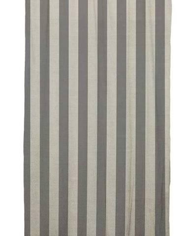 Šedý závěs Linen Cuture Cortina Hogar Grey Stripes