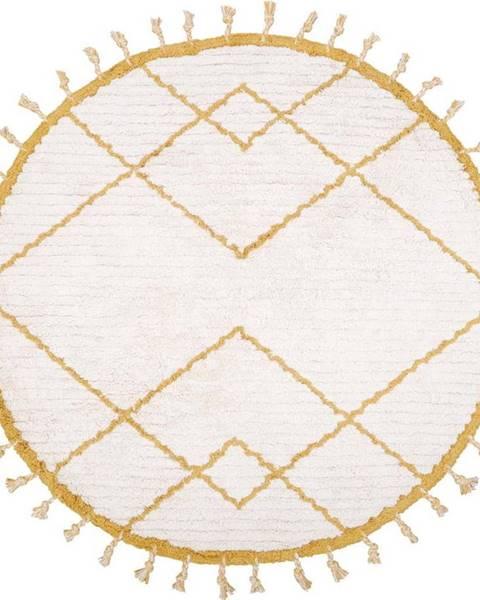 Nattiot Bílo-žlutý bavlněný ručně vyrobený koberec Nattiot,ø120cm