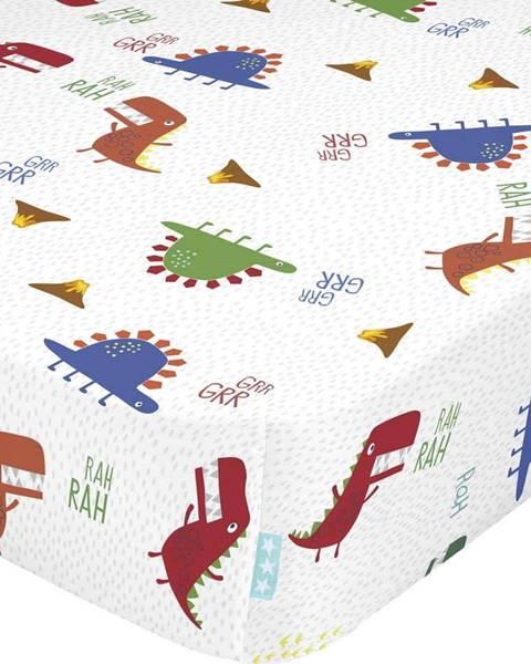 Moshi Moshi Dětské bavlněné prostěradlo Moshi Moshi Funnysaurus,70x140cm